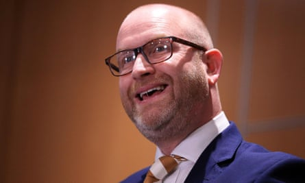 Paul Nuttall delivering his resignation speech in Boston.