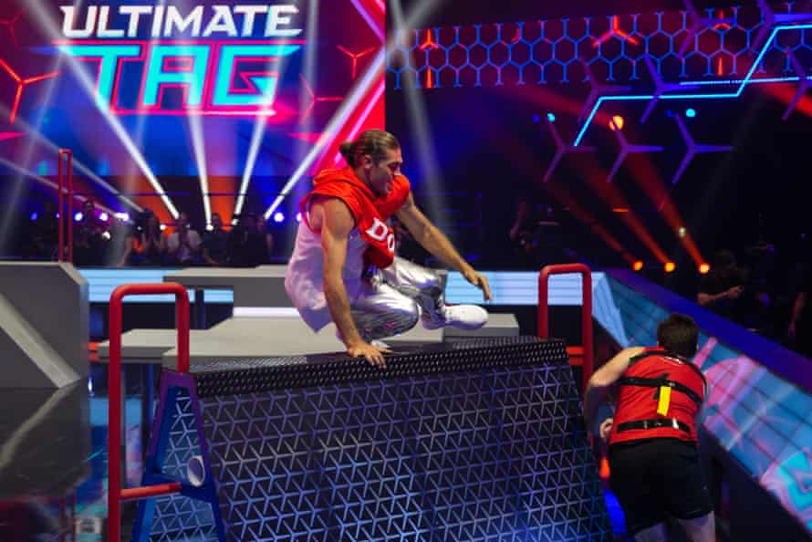 Dominic Di Tommaso chases down a contestant on Channel Seven's Ultimate Tag