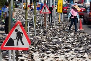 Shark fins drying in the Sheung Wan district of Hong Kong