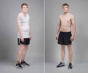 Fitter, faster, stronger: before the transformation, Séamas used to eat 10 biscuits a day and drink 14 glasses of wine a week. Photograph: Pål Hansen/The Observer