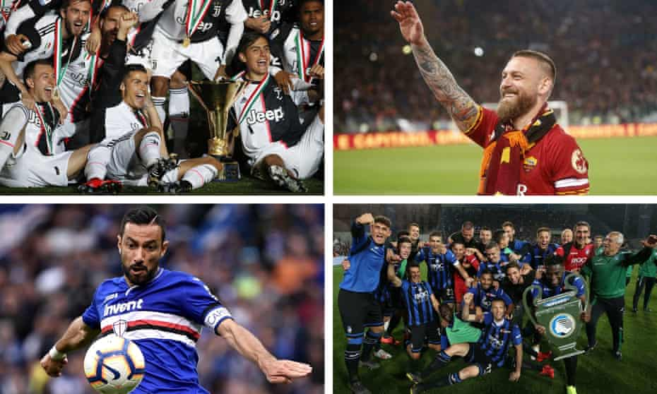 Clockwise: Juventus were champions again, Daniele De Rossi waved farewell to Roma, 36-year-old Fabio Quagliarella was the league's top scorer and Atalanta qualified for the Champions League.