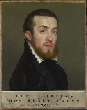 Bust portrait of a young man with an inscription, c.1560, by Giovanni Battista Moroni