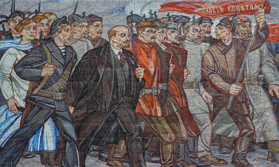 The demolished mosaic Always With Lenin, in Lysychansk.