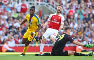 Shkodran Mustafi on his way to a hat-trick of Palace gifts.