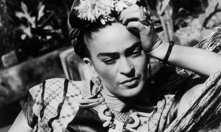 Frida Kahlo photographed in black and white