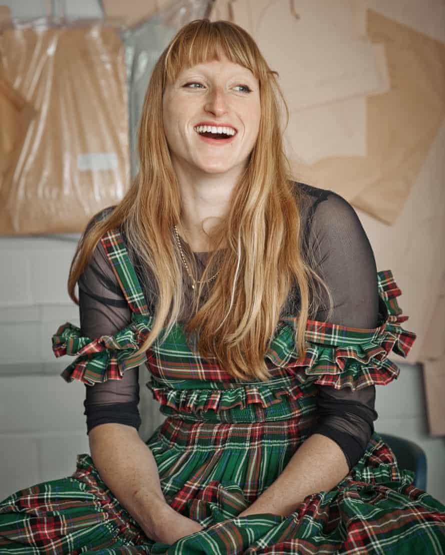 Molly Goddard shot in her designs at her studio in west London in 2016