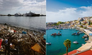 Two dies of a city: the plastic-strewn beach of Neo Faliro near Piraeus and one of the city's yacht marinas.