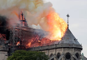 Flames on the roof of the Notre-Dame Cathedral in Paris