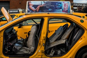 A burned out taxi in a garage in Long Island City, Queens.