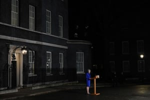 Prime minister Theresa May delivers a statement to members of the media in Downing Street after surviving a vote of no confidence in her government.