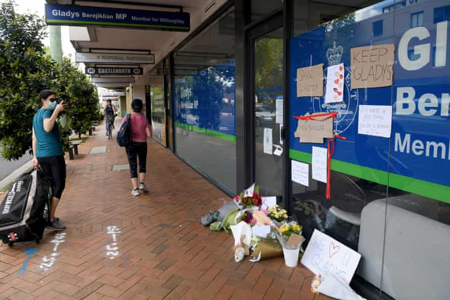 Messages and flowers are seen outside the electoral office of Gladys Berejiklian in Sydney.