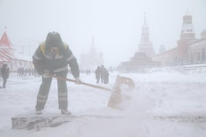Clearing the snow in Red Square