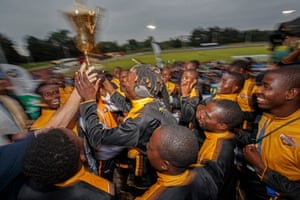Matabeleland players get presented with a trophy for finishing 13th in their first tournament after the Northern Cyprus v Karpatalya grand final match in the Conifa World Football Cup 2018 at Queen Elizabeth 2nd Stadium in Enfield on June 9th 2018 in London (Photo by Tom Jenkins) PIX OF THE YEAR
