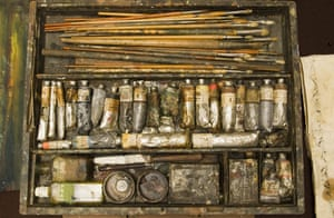 Rex Whistler's paints and equipment at Plas Newydd, on the Isle of Anglesey, Wales
