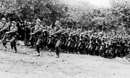 Picture taken in the 60s of Revolutionary Armed Forces of Colombia (Farc) fighters training at a camp somewhere in the Colombian mountains.