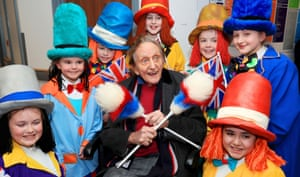 Sir Ken Dodd, surrounded by Diddymen, leaves Liverpool Heart and Chest Hospital after recovering from a severe chest infection. 2018.