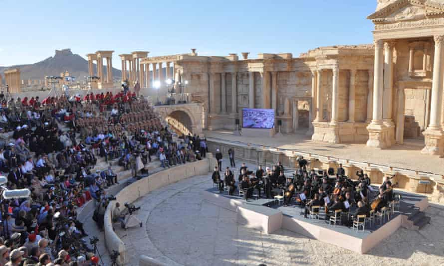 The Mariinsky Theatre Orchestra of Russia performs at the Roman theatre in Palmyra in May 2016