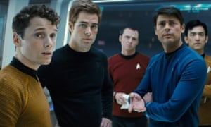 Yelchin, far left, as Chekov in the 2008 Star Trek reboot
