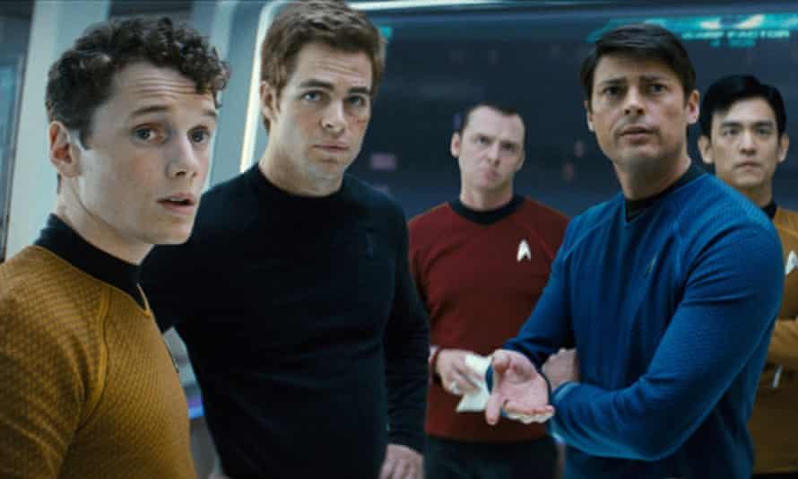 Yelchin, far left, as Chekov in the 2008 Star Trek reboot