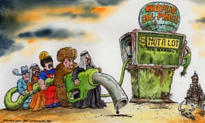 Cartoon of people from several Opec member states in national dress holding a huge filler hose from a petrol pump