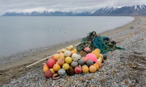 Plastic waste found on the beach at Sarstangen on Prince Carls Forland, on the west coast of Svalbard, Norway.