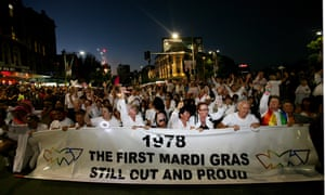 The first Mardi Gras entrants from 1978 at the 30th Annual Gay and Lesbian Mardi Gras in Sydney in 2008.