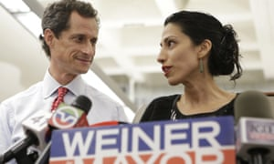 Anthony Weiner, as then New York mayoral candidate, with his now-estranged wife and longtime Hillary Clinton aide Huma Abedin in 2013.