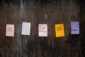 David Shrigley's posters adorn the walls at the back of the castle