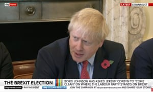 Boris Johnson addressing cabinet.