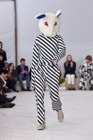 Marni's designer, Francesco Risso, took his post-show bow in a menacing Donnie Darko outfit.