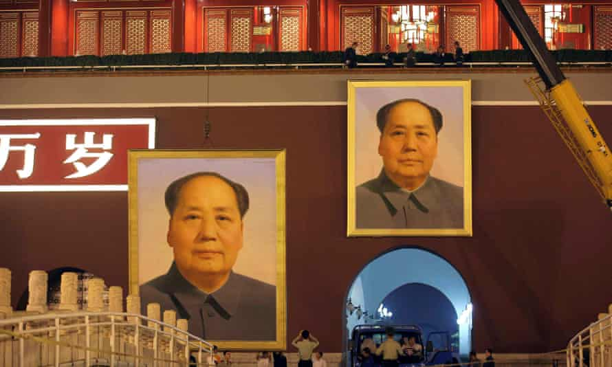Portraits of Mao Zedong at Tiananmen Gate in Beijing. The Great Helmsman is still revered by many in China despite admissions by the country's new leaders that his rule caused 'grave disorder'.