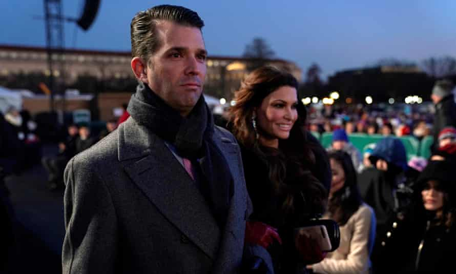 Donald Trump Jr and Kimberly Guilfoyle arrive to watch President Trump in the annual National Christmas Tree Lighting ceremony in Washington on 28 November 2018.