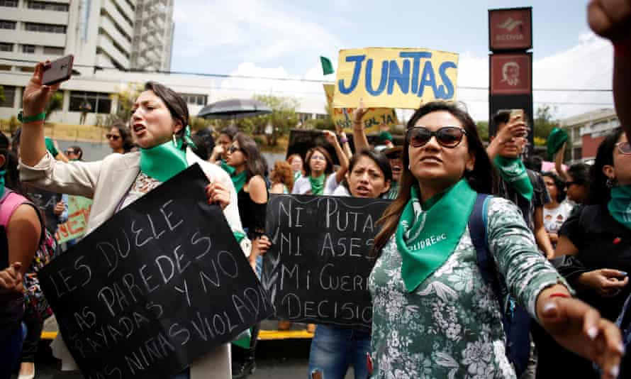 Women take part in a protest to demand the approval of an abortion law after lawmakers rejected it, in Quito, Ecuador, on 28 September 2019.