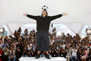 Maradona poses during a photocall for the film Maradona by Kusturica, directed by Emir Kusturica, at the 61st Cannes international film festival