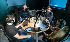 (Clockwise): Luke Moore, Jim Campbell, Pete Donaldson and Marcus Speller record an episode of The Football Ramble podcast