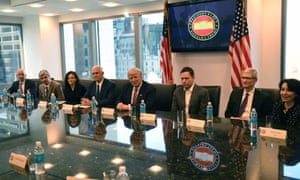 (L-R) Amazon's chief Jeff Bezos, Larry Page of Alphabet, Facebook COO Sheryl Sandberg, Vice President elect Mike Pence, President-elect Donald Trump, Peter Thiel, co-founder and former CEO of PayPal, Tim Cook of Apple and Safra Catz of Oracle attend a meeting at Trump Tower. December 14.