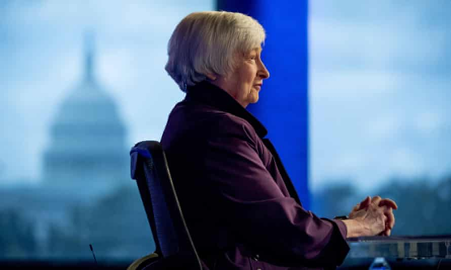Janet Yellen appears for an interview with Fox Business Network in Washington DC on 14 August 2019.