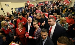 Jeremy Corbyn with Labour supporters at an event in Dudley, West Midlands, this afternoon.