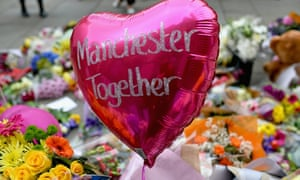Floral tributes left for the victims of this week's attacks in manchester.