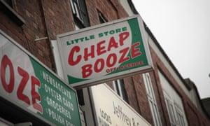 A shop called Cheap Booze in London, England.