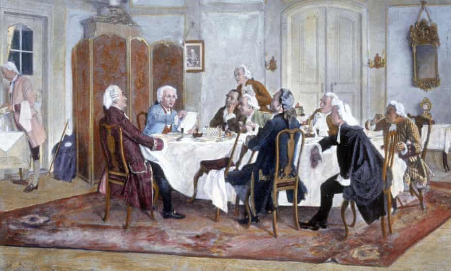 A painting of Immanuel Kant and his contemporaries
