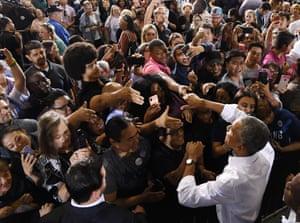 Barack Obama greets supporters after speaking in Las Vegas.