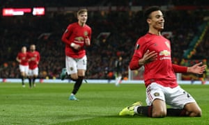 Mason Greenwood of Manchester United celebrates scoring their second goal.