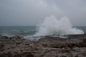Huge waves hit the eastern coast of Spain.