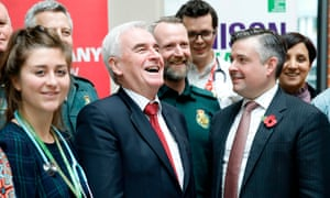 Shadow chancellor John McDonnell (L) and Labour's shadow health secretary Jonathan Ashworth (R) will announce Labour's NHS spending plan in London today.