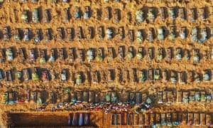 Hundreds of coffins of suspected Covid victims in Manaus, Amazonas state, Brazil, in April.