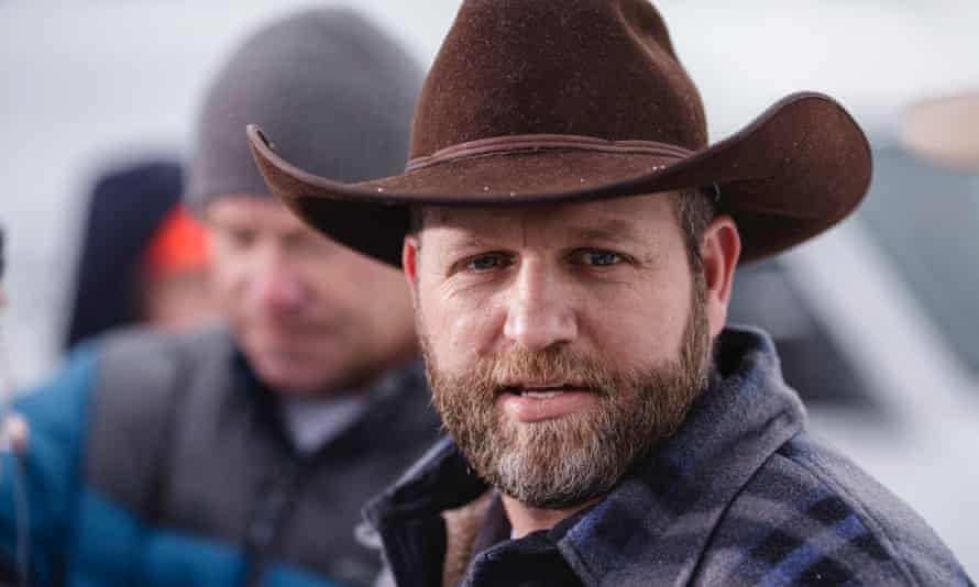 Ammon Bundy, who lead an armed anti-government militia in their takeover of the Oregon wildlife refuge, speaking at a news conference.