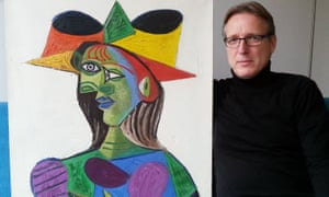Arthur Brand with the 1938 Picasso painting Bust de Femme