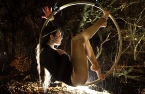 Falkirk, Scotland: Miriam Wolanski performing in Legion at Rough Castle community woodland