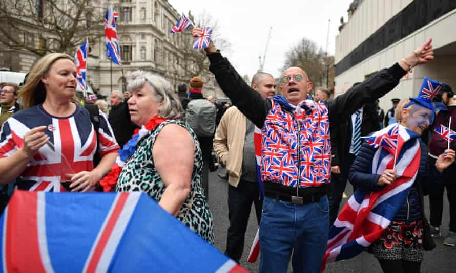 Pro-Brexit supporters in Parliament Square on 31 January.